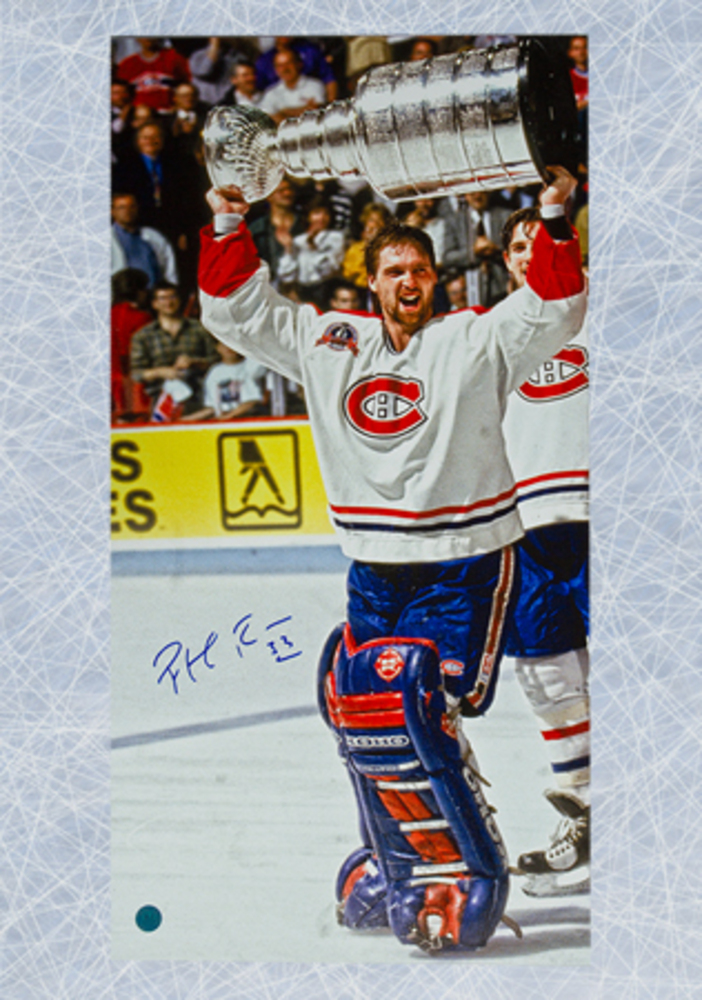 Patrick Roy Montreal Canadiens Autographed 14x28 Stanley Cup Art Canvas