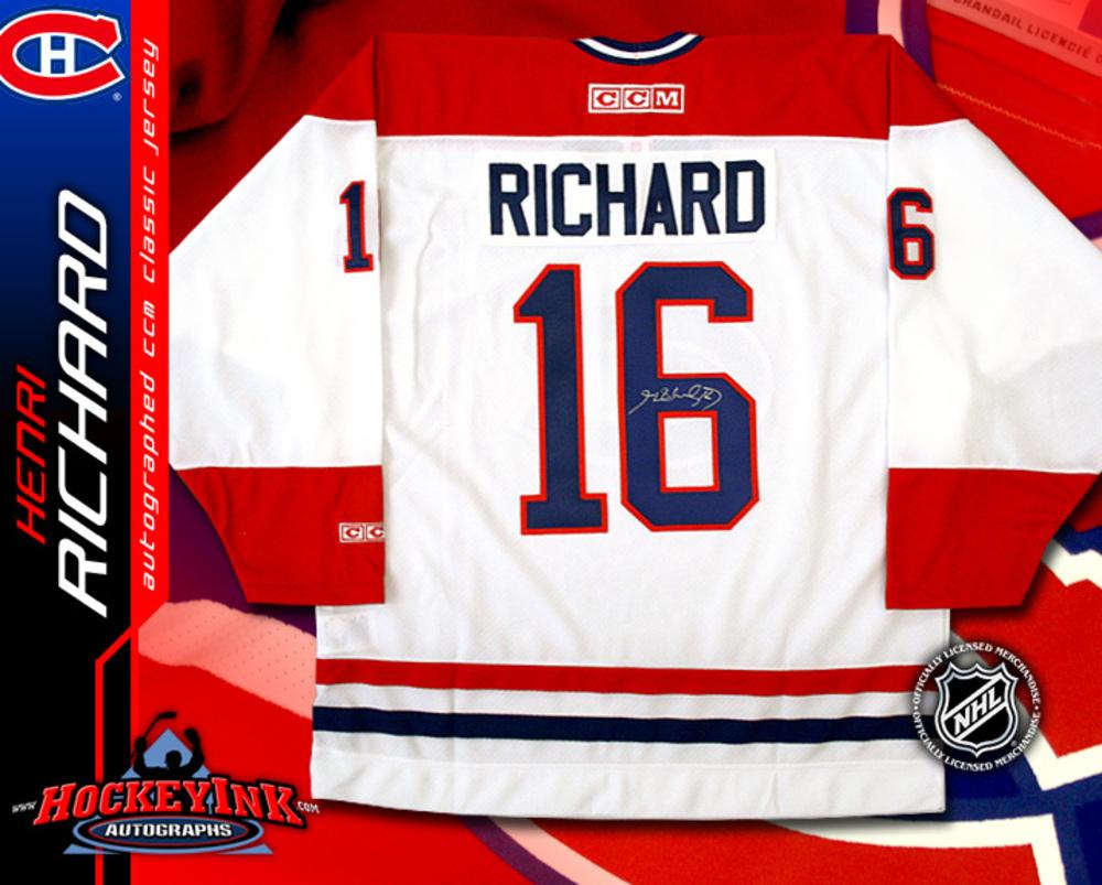 HENRI RICHARD Signed CCM Vintage White Montreal Canadiens Jersey