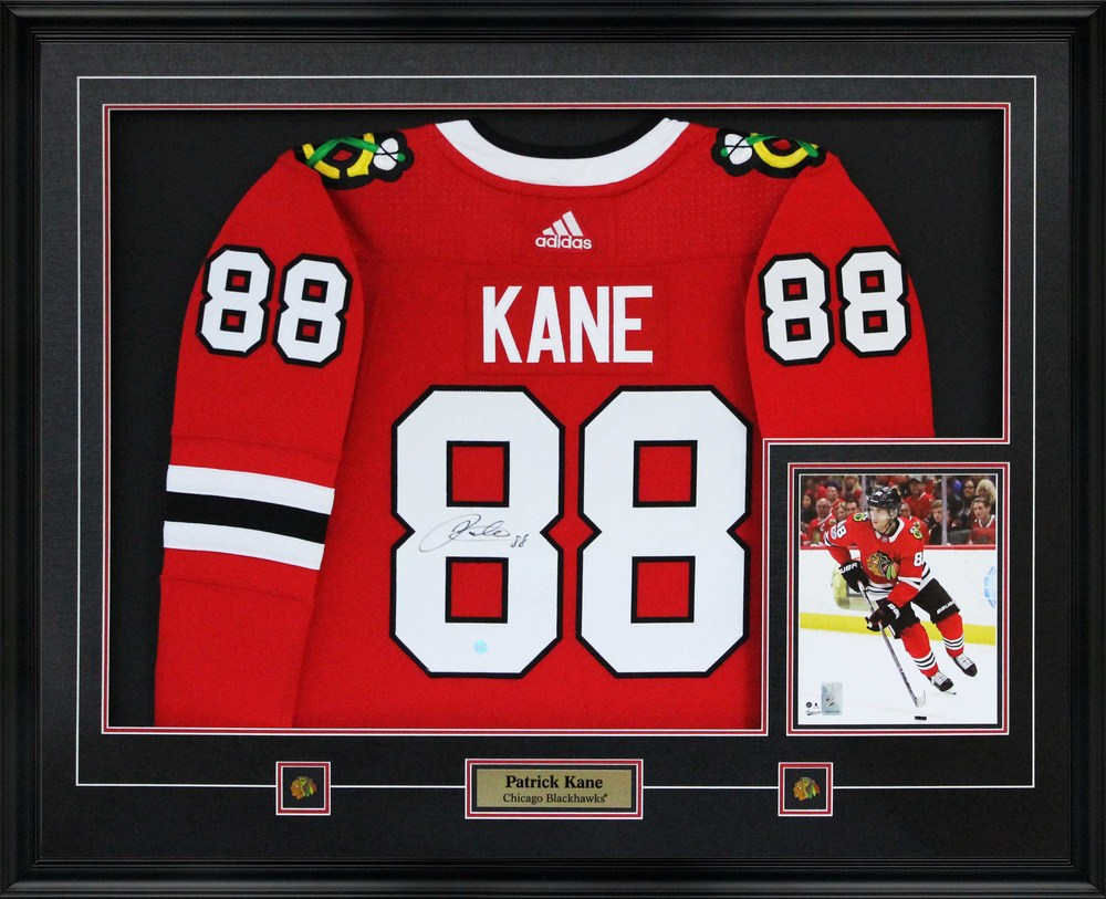 a2373db19 Patrick Kane - Signed Jersey Framed With 8x10 Blackhawks Pro Red 17 ...