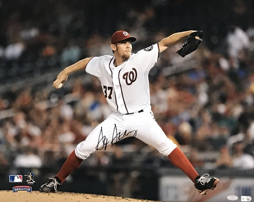 Stephen Strasburg Autographed 16x20 Photo (Pitching #1)