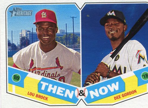 Photo of 2018 Topps Heritage Then and Now #TN11 Dee Gordon/Lou Brock