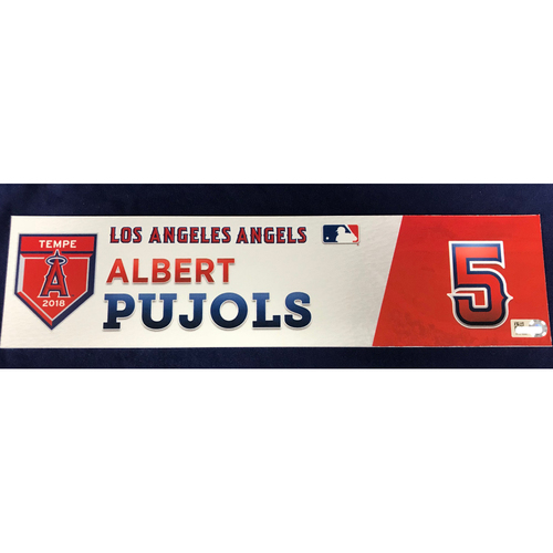 Photo of Albert Pujols 2018 Spring Training Locker Tag
