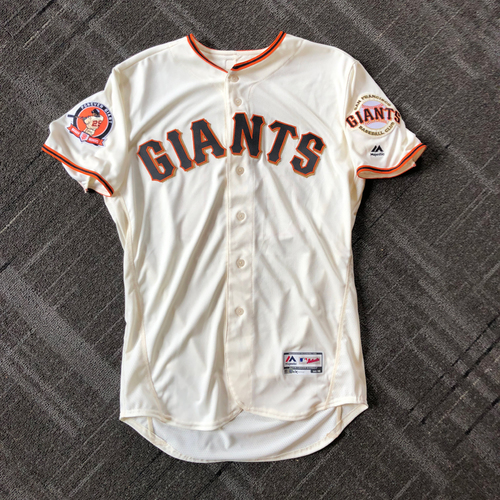 Photo of 2018 San Francisco Giants - #25 Number Retirement Game - Game Used or Team Issued Jersey featuring a commemorative patch celebrating #25 Number Retirement on August 11,2018 - Size 46