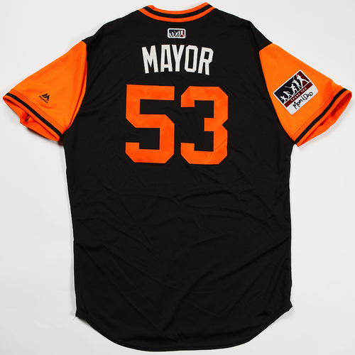 "Photo of Austin ""Mayor"" Slater San Francisco Giants Game-Used 2018 Players' Weekend Jersey"