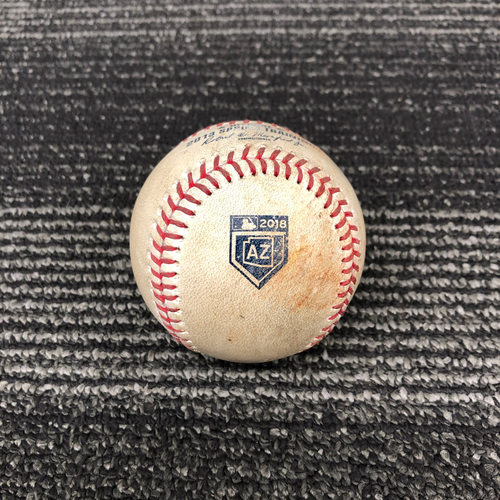 Photo of 2018 Spring Training Game Used Baseball - 3/17/18 vs. Oakland A's - B-5: Eric Jokisch to Brandon Crawford - Pitch in the Dirt