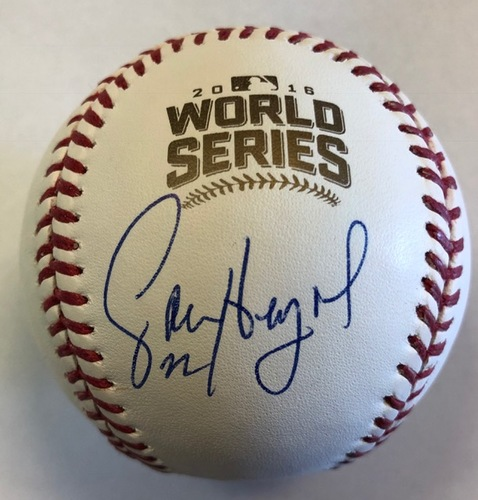 Photo of Jason Heyward Autographed 2016 World Series Logo