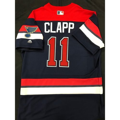 Photo of Stubby Clapp Team Issued 2019 St. Louis Blues Themed Cardinals Jersey (Size 44)