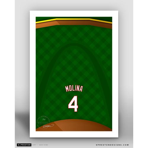 Photo of Minimalist Busch Stadium Yadier Molina Player Series Art Print by S. Preston - Limited Edition