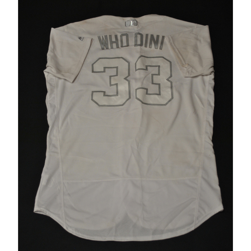 "Photo of Nick ""Who Dini"" Dini Kansas City Royals Game-Used 2019 Players' Weekend Jersey"