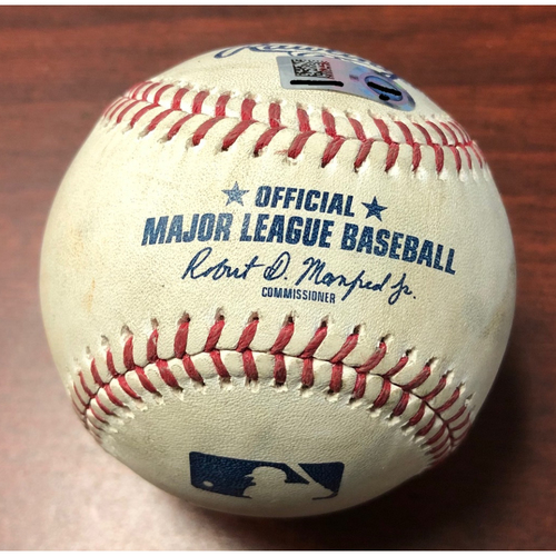 Photo of Game Used Baseball: Trey Mancini strike out, Dwight Smith Jr. double and Renato Nunez ball in dirt against Ryne Stanek - April 17, 2019 v BAL