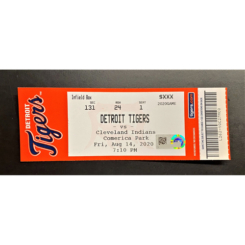 Photo of 8/14/20 - Detroit Tigers vs Cleveland Indians Home Game #11 Comerica Park Limited Edition Full Game Ticket - Maybin Milestone Game (MLB AUTHENTICATED)