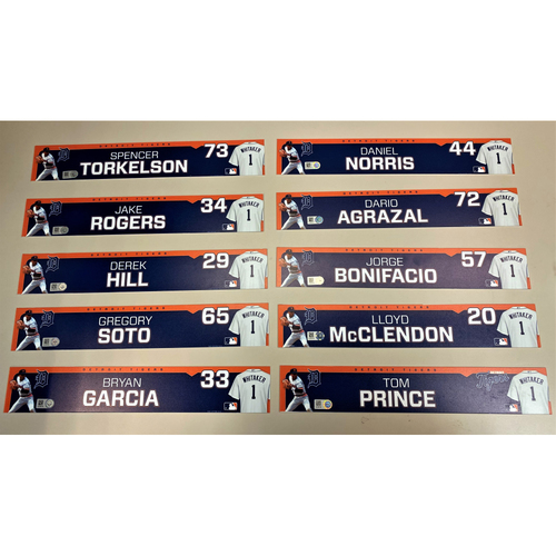 Photo of Detroit Tigers 2020 Comerica Park Clubhouse Locker Name Plate Set 3: Featuring Spencer Torkelson, Jake Rogers, Derek Hill, Daniel Norris Bryan Garcia & more! (MLB AUTHENTICATED)