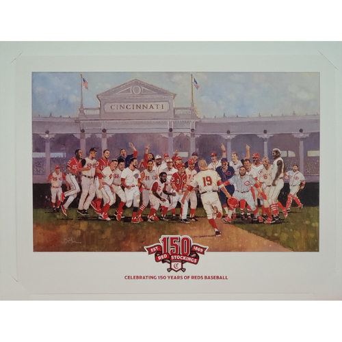 "Photo of Cincinnati Reds 150th Anniversary Celebration Print by Bart Forbes - 17""x13"""