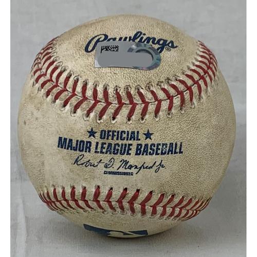 Photo of Nori Aoki Game-Used Baseball from 2000th Career Hit Game: Pitcher: Jesse Chavez, Batter: Norichika Aoki - RBI Double - Bottom 4 - 6/11/17