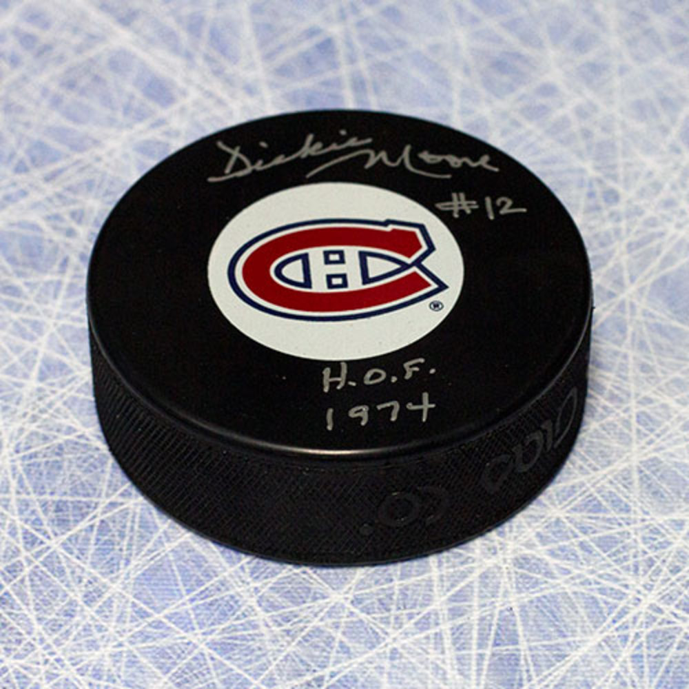 Dickie Moore Montreal Canadiens Autographed Puck with HOF Inscription