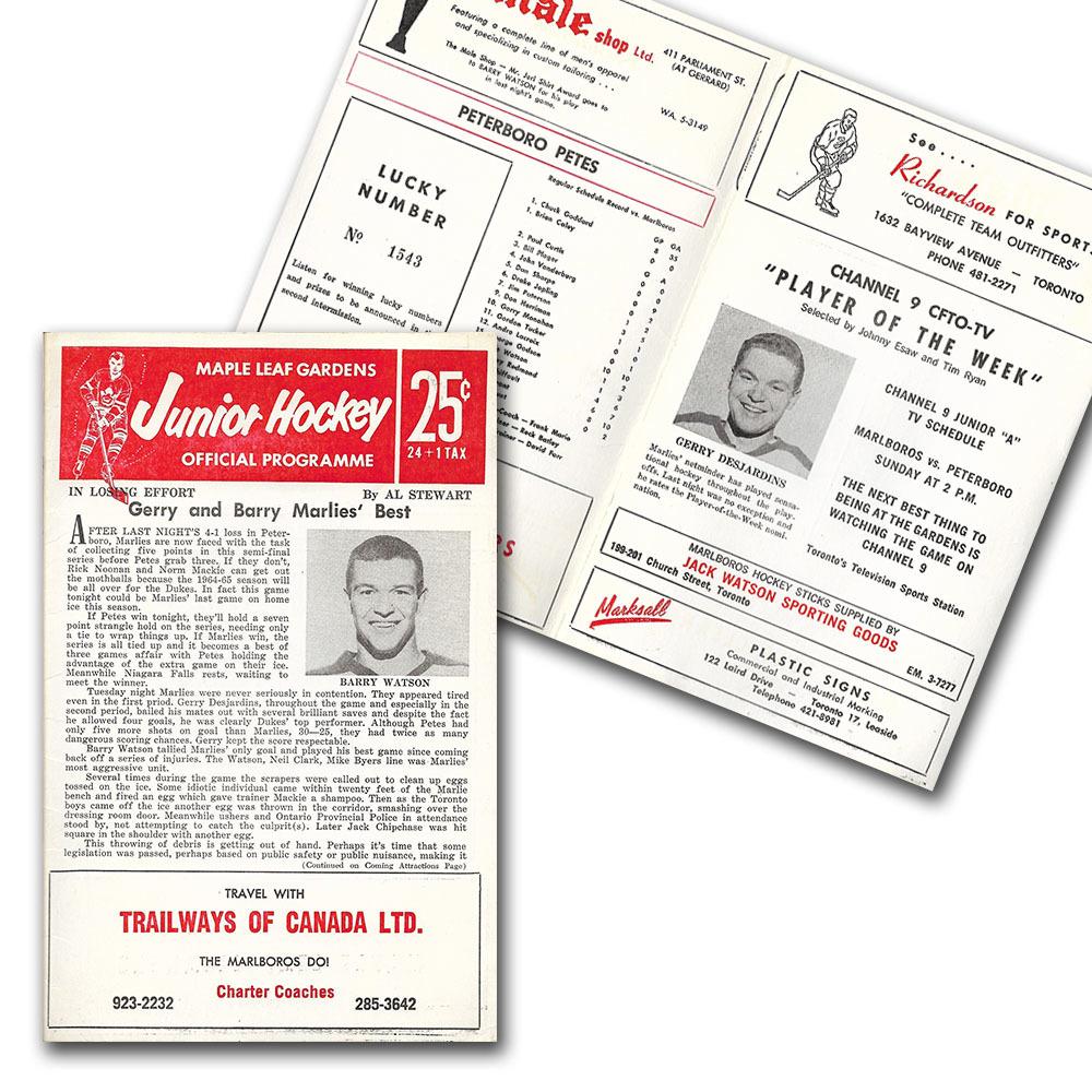 1960s Toronto Marlboros OHA Program