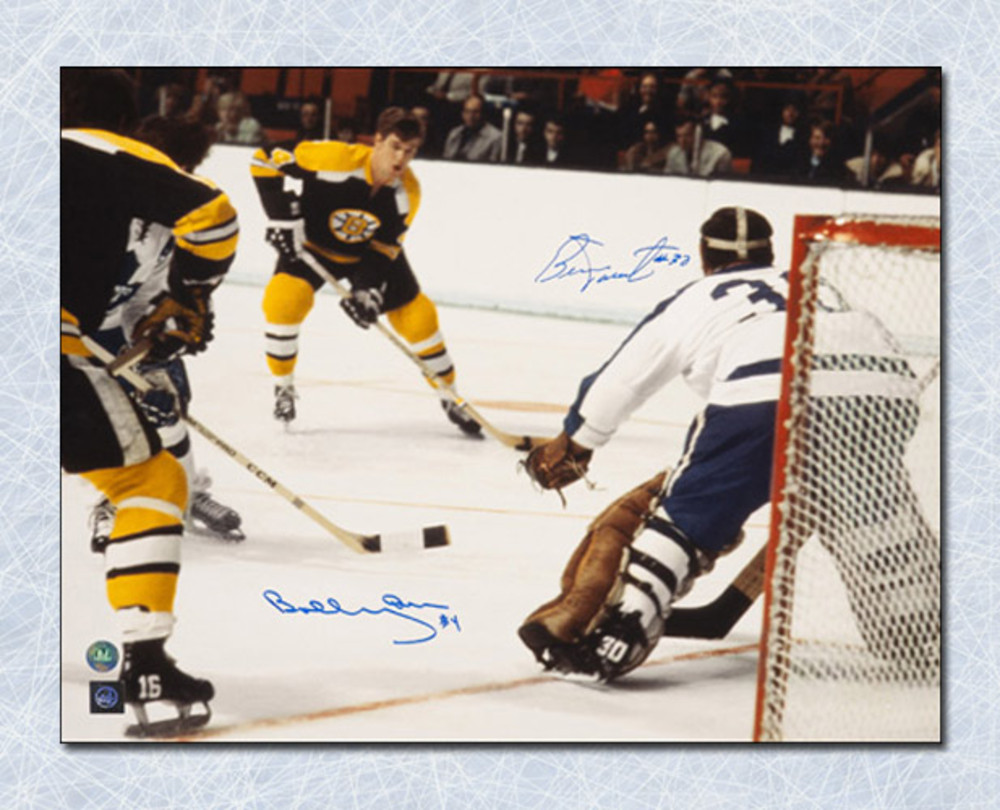 BOBBY ORR Boston Bruins vs BERNIE PARENT Toronto Maple Leafs Dual Signed 16x20 Photo