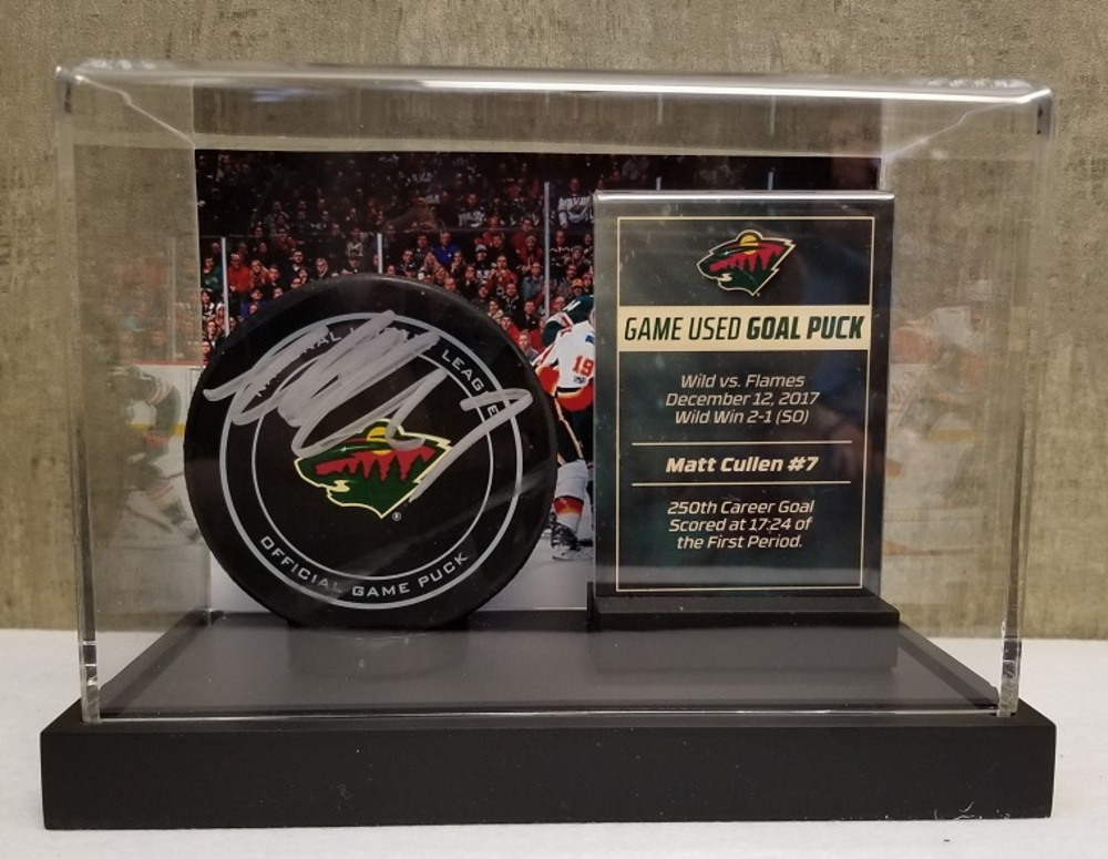 Wild Game Used Goal Pucks- Cullen 250th Career Goal