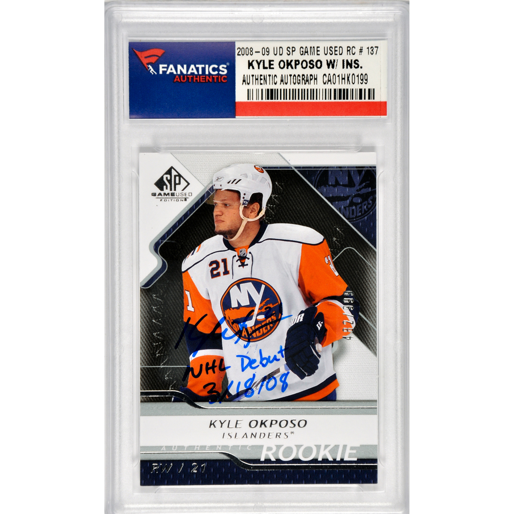 Kyle Okposo New York Islanders Autographed 2008-09 Upper Deck SP Game Used Rookie #137 Card with NHL Debut 3/18/08 Inscription