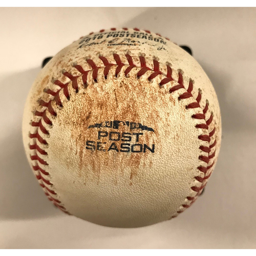 Photo of Game-Used Baseball - NLDS Game 4, 10/8/18 - Mike Foltynewicz pitched to Cody Bellinger (Walk) and Yasiel Puig (Foul)