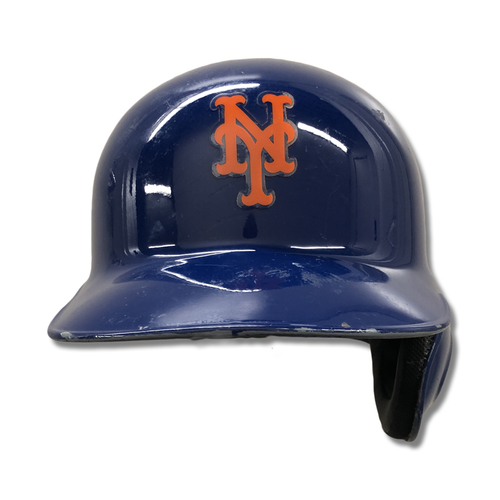 Photo of J.D. Davis #28 - Game Used Blue Batting Helmet - 3-5, 2B - Mets vs. Marlins - 9/23/19