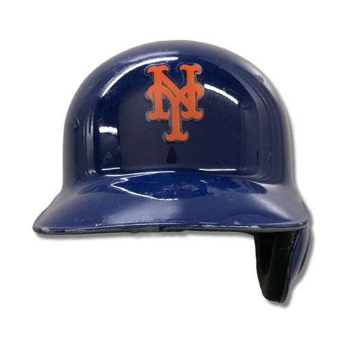 J.D. Davis #28 - Game Used Blue Batting Helmet - 3-5, 2B - Mets vs. Marlins - 9/23/19