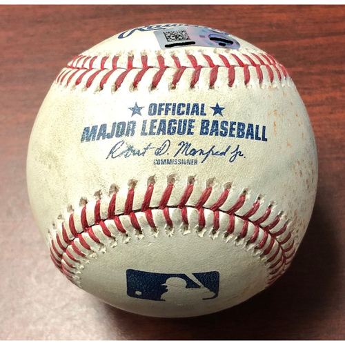 Photo of Game Used Baseball: Adalberto Mondesi strike out and Alex Gordon single off Blake Snell - April 24, 2019 v KC