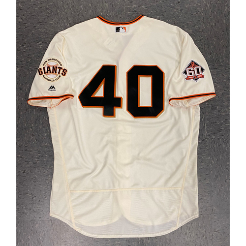Photo of 2018 Game Used Jersey - Home Crème - worn by #40 Madison Bumgarner - authenticated for 1500th Career Strikeout (6/27/18) also used on 7/8 - Size 50