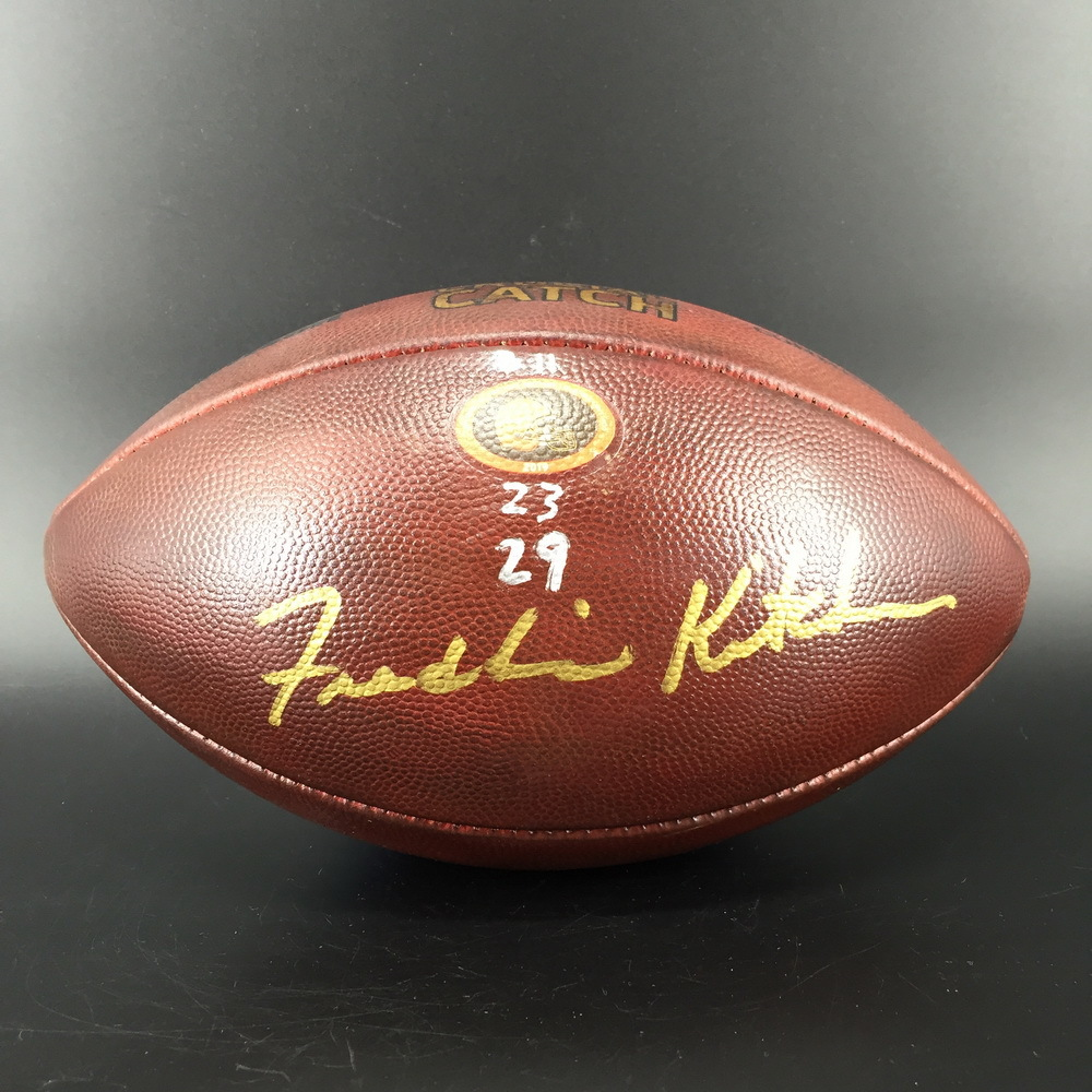 Crucial Catch - Browns Head Coach Freddie Kitchens Signed Game Used Football with Crucial Catch Logo (10/13/2019)
