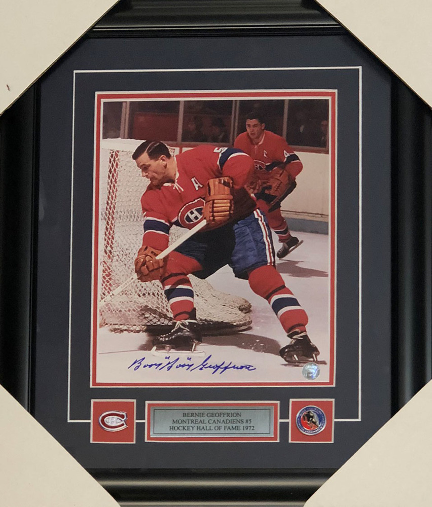 Bernie BOOM BOOM Geoffrion Autographed Montreal Canadiens Framed 8X10 Photo
