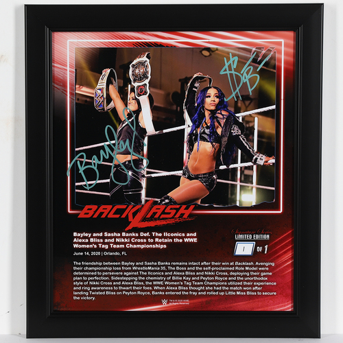 Photo of Bayley and Sasha Banks SIGNED Backlash 2020 Signature Series Frame (#1 of 1)