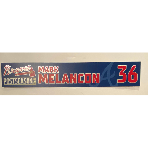 Photo of Mark Melancon Game-Used 2020 Postseason Locker Nameplate - September 30, 2020 - Wild Card Game 1