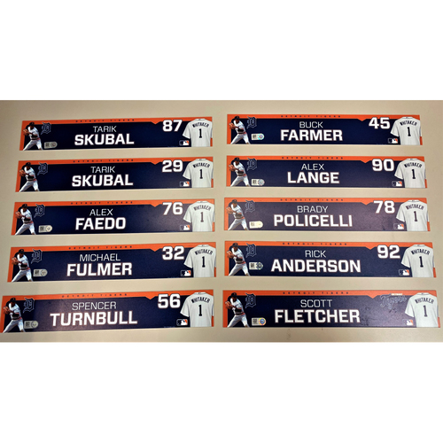 Photo of Detroit Tigers 2020 Comerica Park Clubhouse Locker Name Plate Set 4: Featuring Tarik Skubal, Alex Faedo, Michael Fulmer, Spencer Turnbull, Buck Farmer & more!  (MLB AUTHENTICATED)