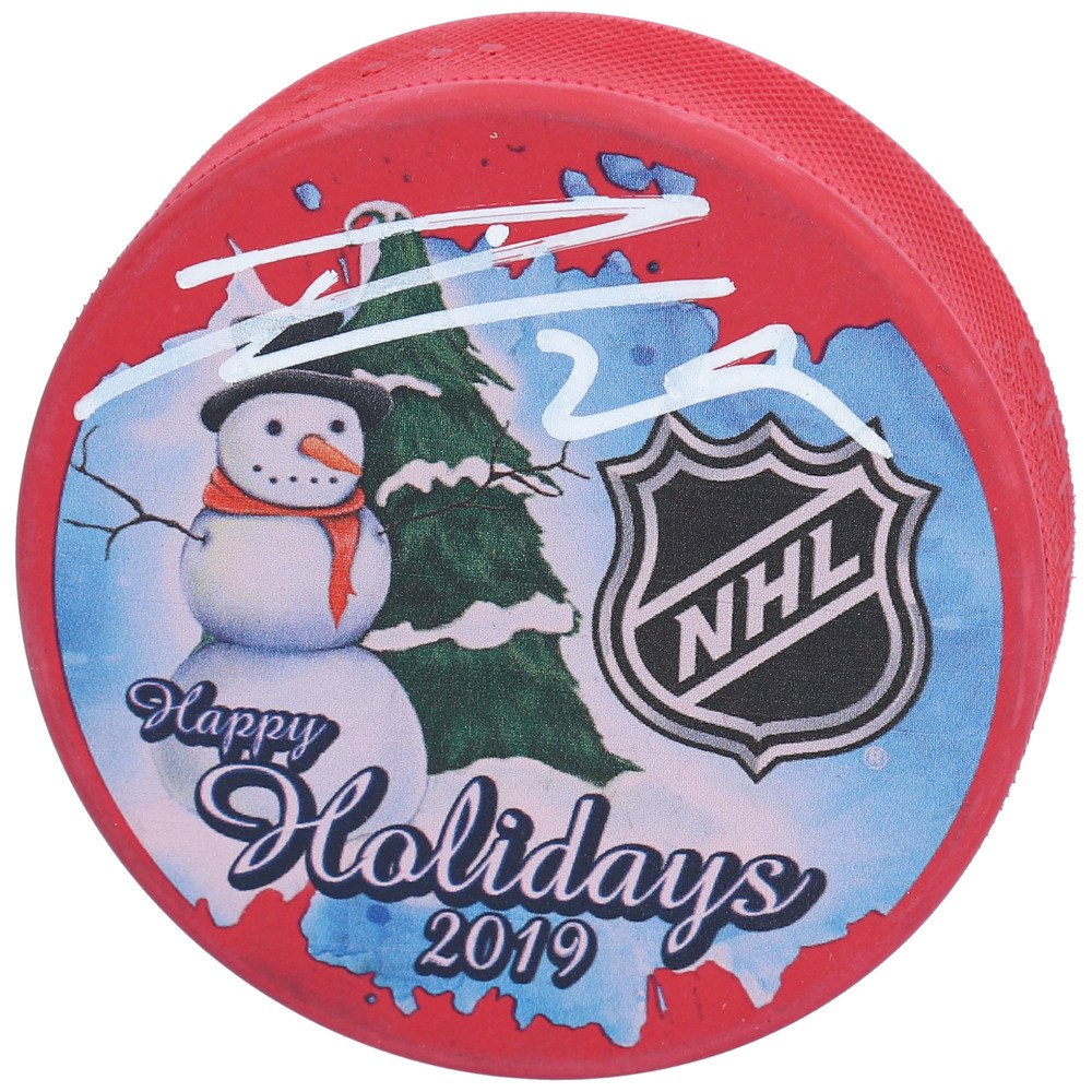 Leon Draisaitl Edmonton Oilers Autographed Inglasco 2019 Happy Holidays Hockey Puck - NHL Auctions Exclusive