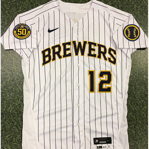 Photo of Corey Ray 2020 Team-Issued Home Pinstripe Jersey