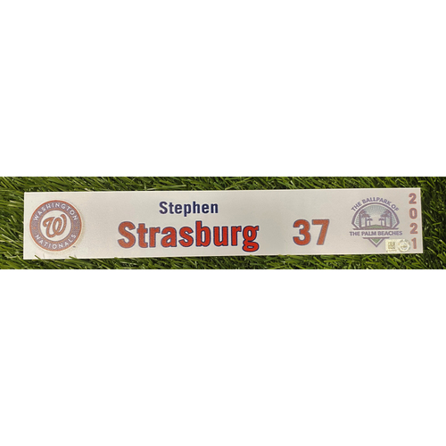 Photo of Stephen Strasburg Game-Used 2021 Spring Training Locker Tag