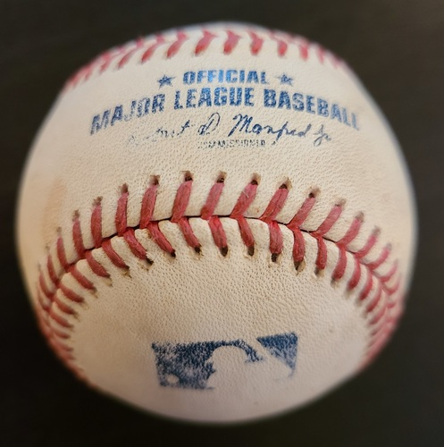 Photo of Authenticated Game Used Baseball: Single by Cavan Biggio against Luis Cessa (Apr 13, 2021 vs NYY). Bottom 7. Game played in Dunedin, FL.