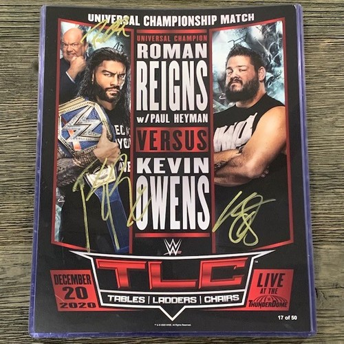 Photo of Roman Reigns, Paul Heyman, and Kevin Owens SIGNED TLC Fight Card (Random Number) *Imperfect Signatures*