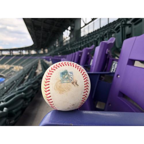 Photo of Colorado Rockies Game-Used Baseball - Almonte v. Rojas - Single to Cuevas - June 22, 2018