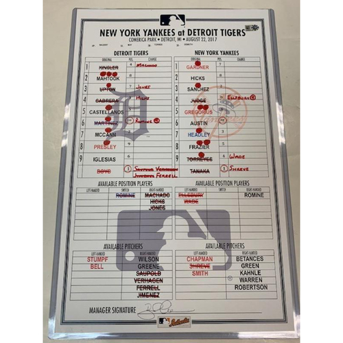 Photo of Game-Used Line-Up Card vs. New York Yankees - 8/22/17