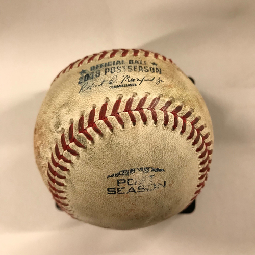 Photo of Game-Used Baseball - NLDS Game 4, 10/8/18 - Rich Hill pitched to Tyler Flowers (Pop Out), Ender Inciarte (Ground Out), Charlie Culberson (Foul)