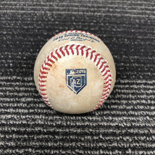 Photo of 2018 Spring Training Game Used Baseball - 3/23/18 vs. Kansas City Royals - B-4: Jakob Junis to Pablo Sandoval - Pitch in the Dirt