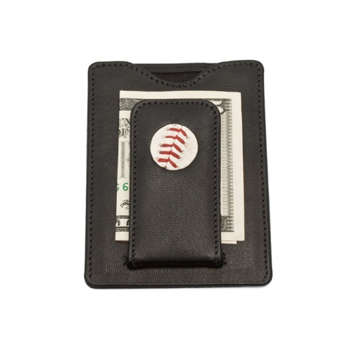 Photo of Tokens & Icons Texas Rangers Game-Used Baseball Money Clip Wallet