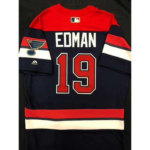 Photo of Tommy Edman Team Issued 2019 St. Louis Blues Themed Cardinals Jersey (Size 42)