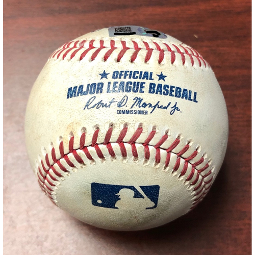 Photo of Game Used Baseball: Miguel Andujar strike out and Gio Urshela at-bat against Tyler Glasnow - May 10, 2019 v NYY