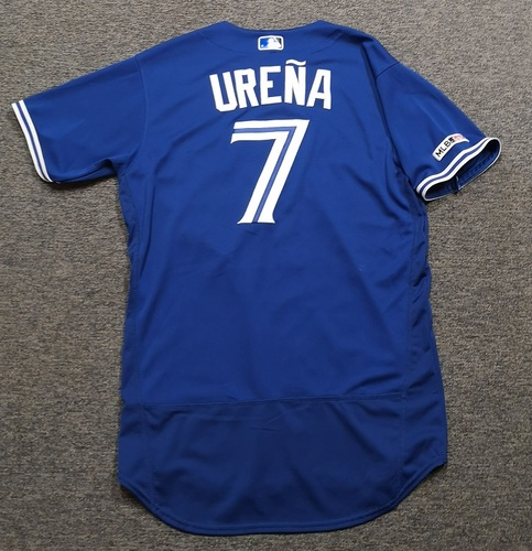 Photo of Authenticated Game Used Jersey: #7 Richard Urena (Mar 30, 19 vs DET: 1-for-2). Size 44