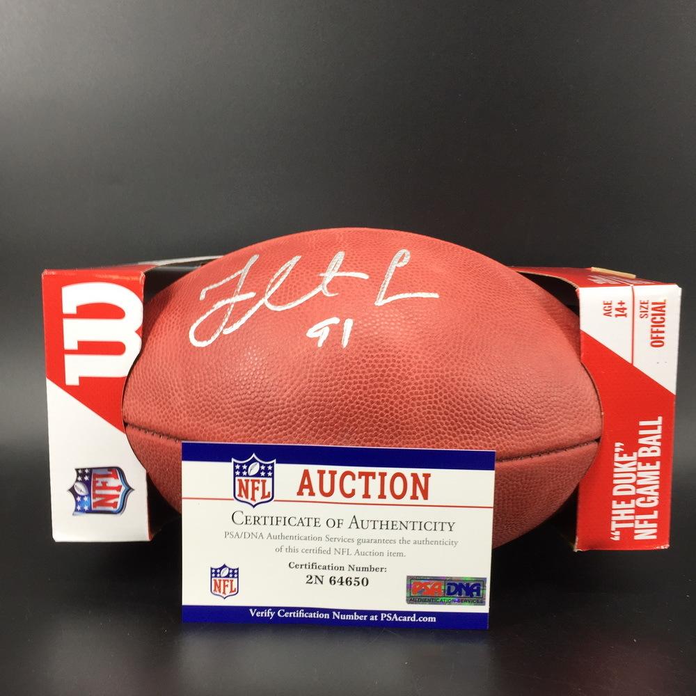 NFL - Eagles Fletcher Cox Signed Authentic Football W/ 100 Seasons Logo