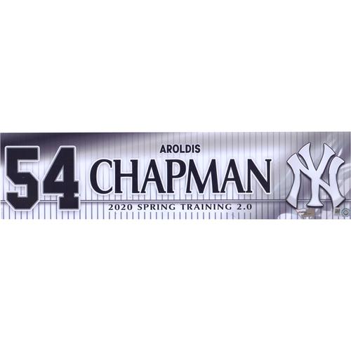 Aroldis Chapman New York Yankees Team-Issued #54 White Nameplate from Spring Training 2.0 During the 2020 MLB Season