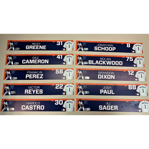 Detroit Tigers 2020 Comerica Park Clubhouse Locker Name Plate Set 5: Featuring Riley Greene, Daz Cameron, Franklin Perez, Victor Reyes, Jonathan Schoop & more! (MLB AUTHENTICATED)