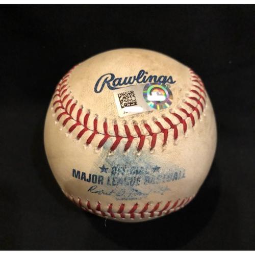 Photo of Joey Votto - Game-Used Baseball - Votto (Walk), Duvall (Ground Out), Suarez (Foul)